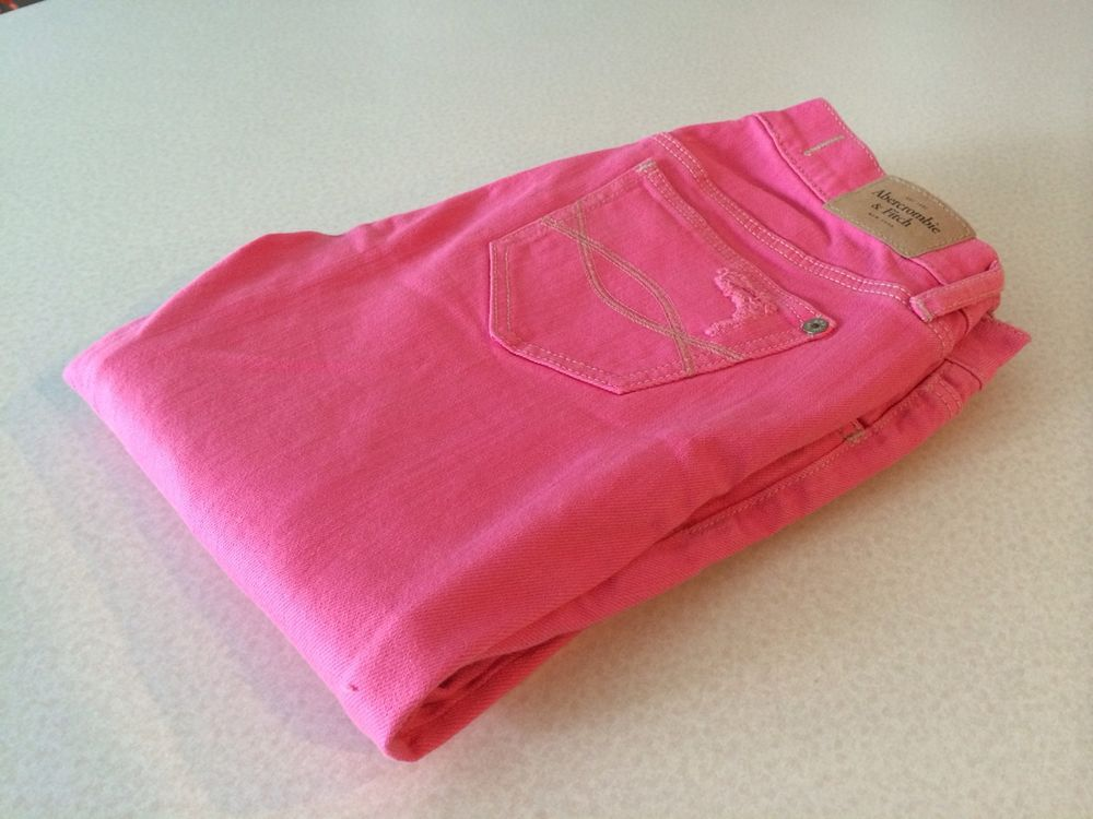 Pink Abercrombie Fitch Distressed Jeans 00 Skinny Cut | eBay