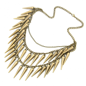 Layered Vintage Style Spike Necklace