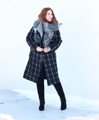 tf diaries blogger jacket scarf bag shoes pants winter outfits boots black coat over the knee boots