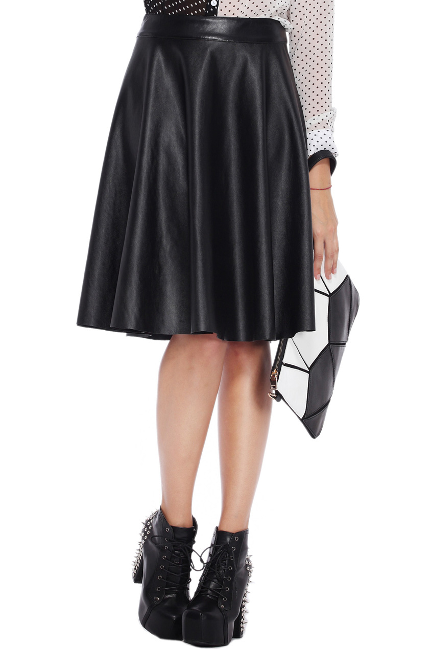ROMWE | Simple Styled Black Faux Leather Skirt, The Latest Street Fashion