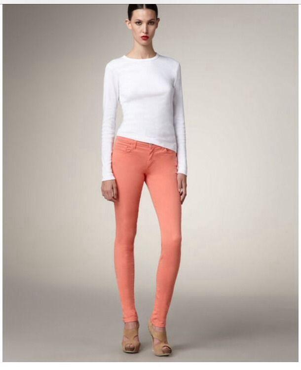 New J Brand Colored Denim Nectar Coral High Waist Skinny Jean w Stretch 25 | eBay