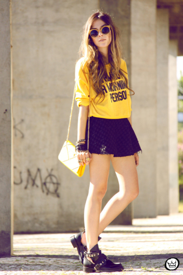 fashion coolture sweater skirt bag sunglasses shoes