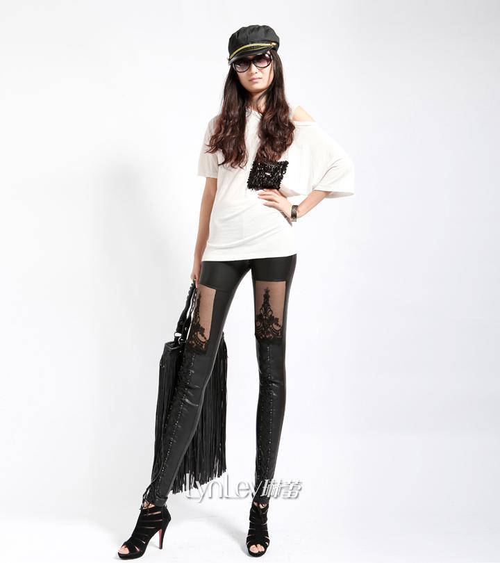 Women Punk WET LOOK Floral Laces Shinny Lace Leggings size 6 8 10 | eBay