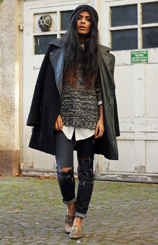 she wears fashion shoes sweater blouse jeans coat hat