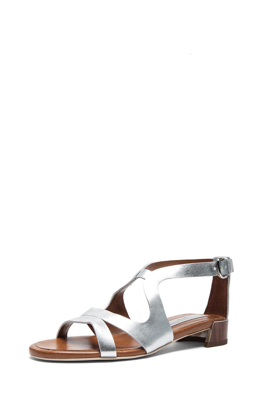 Stella McCartney|Faux Leather Flat Sandal in Silver