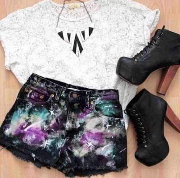 shorts black shorts High waisted shorts black shoes shoes top shirt necklace hipster fashion style white black beautiful pretty galaxy print high heels t-shirt jewels black heels white t-shirt white top