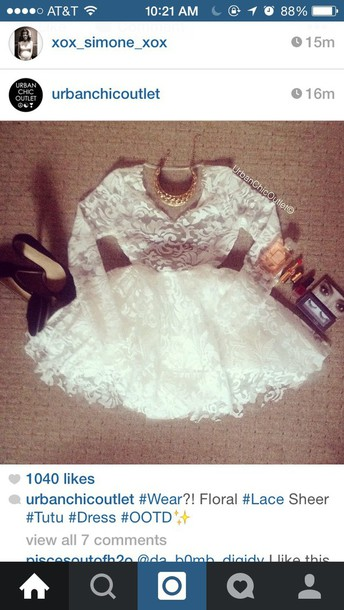 dress white dress lace dress poofy dress