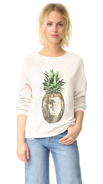sweater fashion clothes wildfox party pineapple sweater fleece ribbed crew neckline