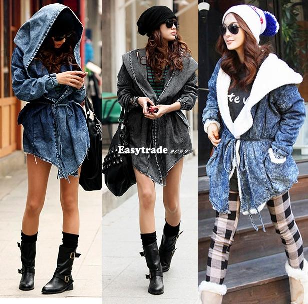 New Women Denim Trench Coat Hoodie Outerwear Hooded Jeans Wool Plush Coat Jacket | eBay