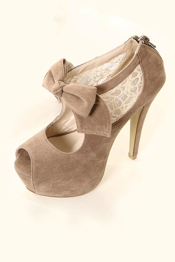 Chic Peep Toe High Heels with Bowknot [FABI1646] - PersunMall.com
