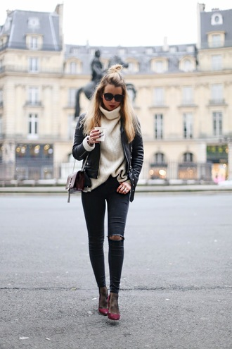caroline louis pardonmyobsession blogger jacket jeans sweater tights shoes bag turtleneck sweater black leather jacket ysl bag ankle boots skinny jeans