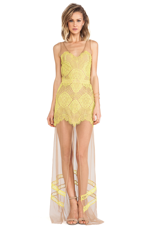 For Love & Lemons Antigua Maxi Dress in Chartreuse | REVOLVE