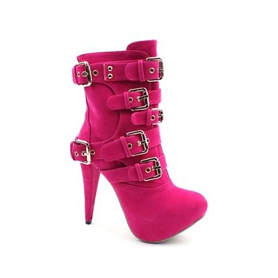 2098  Multi Buckled Suede Pink Ankle Boots (12.5cm) [BLACK LABEL]