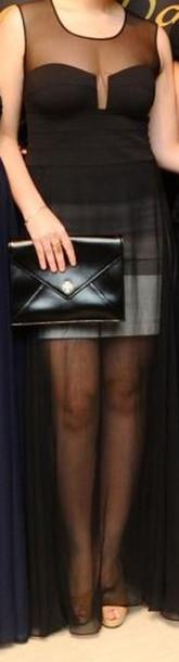 dress black dress sheer maxi dress