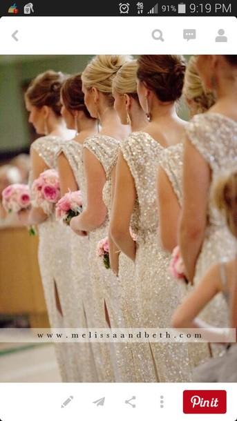 dress champagne dress seqiun bridesmaid