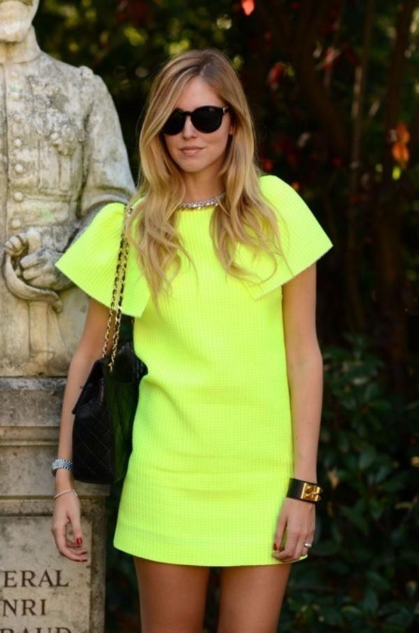dress yellow dress neon neon dress