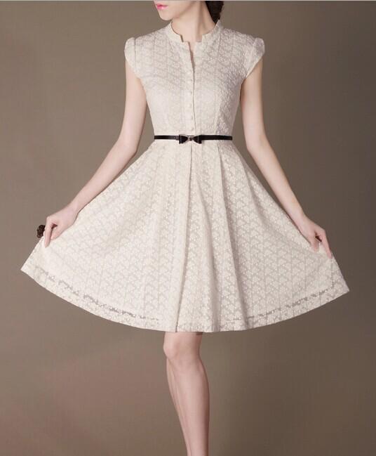 White Lace Elegant Noble Summer OL Loose Wing Women Fashion Dress lml7054 - ott-123 - Global Online Shopping for Dresses