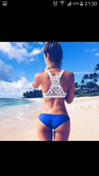 swimwear maillot de bain 2 pi?ces bleu blanc styl? ?t? original