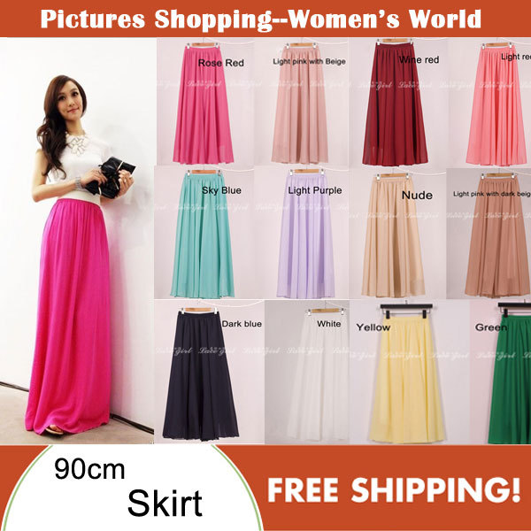 Cheap price High quality Fashion Womens Candy Color High Waist Elastic Waist Chiffon Full Long Maxi Skirts 80/90/100cm 19colors-in Skirts from Apparel & Accessories on Aliexpress.com