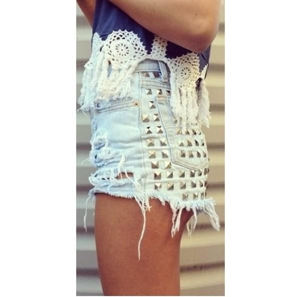 shirt blue shorts cream beach boho bohemian girl tanned studded