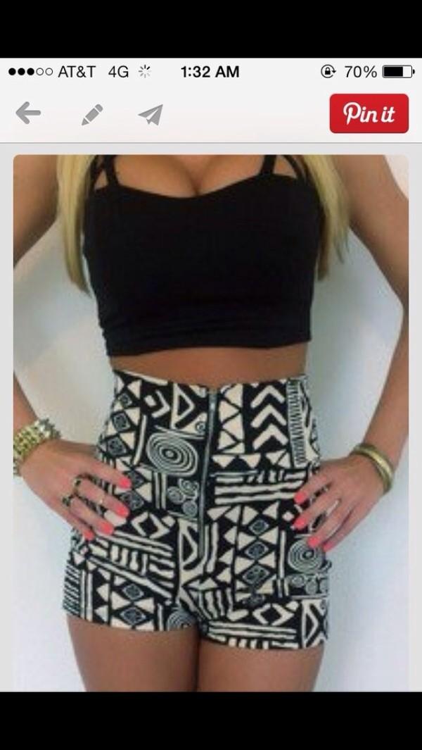 shorts black and white summer shorts cool High waisted shorts blouse