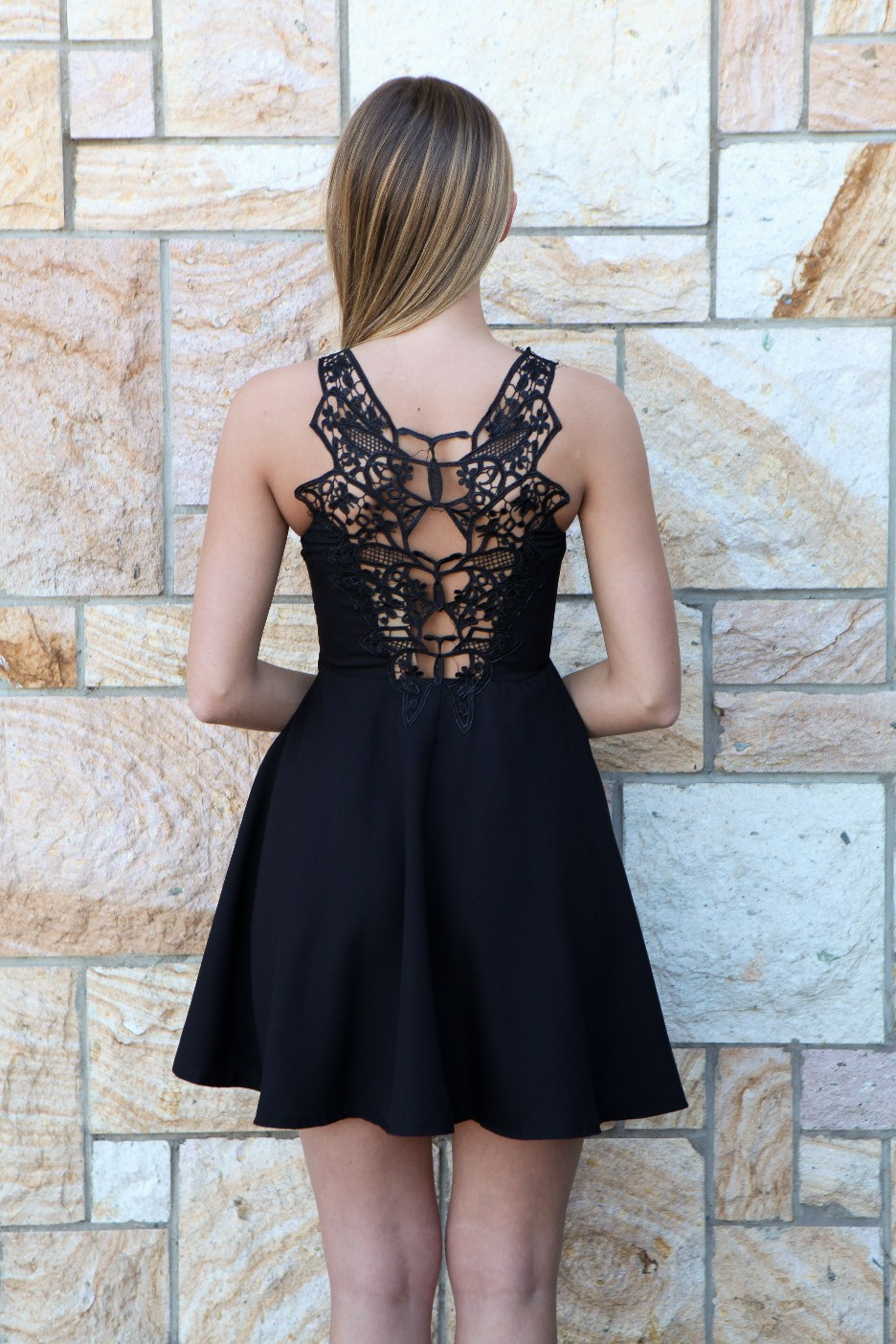 Black Little Black Dress - Black Lace Back Cutout Bodice | UsTrendy