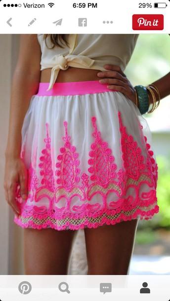skirt neon pink design