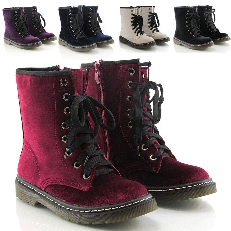 Womens Lace Up Ladies Velvet Vintage Retro Combat Goth Punk Ankle Boots Shoes | eBay