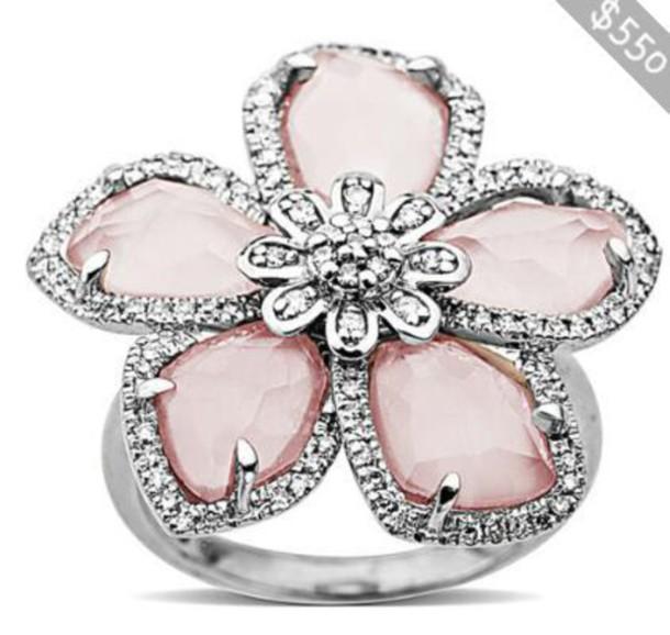 jewels diamonds ring flowers