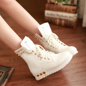 Womens Punk Rivet Studded Lace Up Creeper Heels Gothic Riding Boots Ankle Boots | eBay