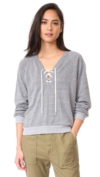 sweater fashion clothes dark heather monrow lace up sweatshirt v neck top shopbop