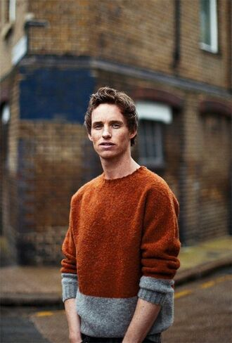 sweater fall sweater bicolor mens sweater eddie redmayne actor fall colors rust colorblock heavy knit jumper fall outfits