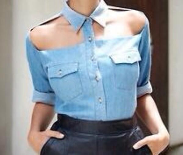 blouse cut out blouse cut-out shirt denim jeans light blue sexy jeans cut offs cut-out blue jeans shirt top tank top cut-out cut out denim shirt shoulder less shirt