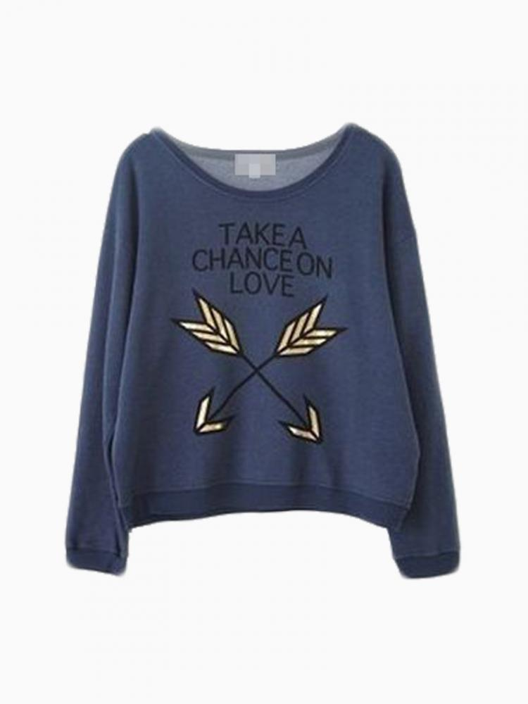 Blue Sweatershirt With Cupid's Bow   Choies