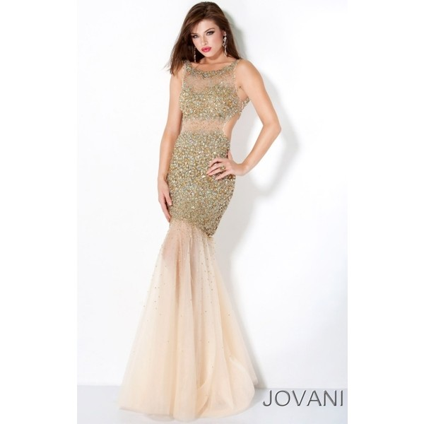 Jovani Gold Sequin Mermaid Prom Dress with Illusion 171100 - Polyvore