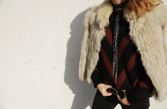 my daily style blogger striped sweater fur jacket sweater weather winter outfits beige fur jacket