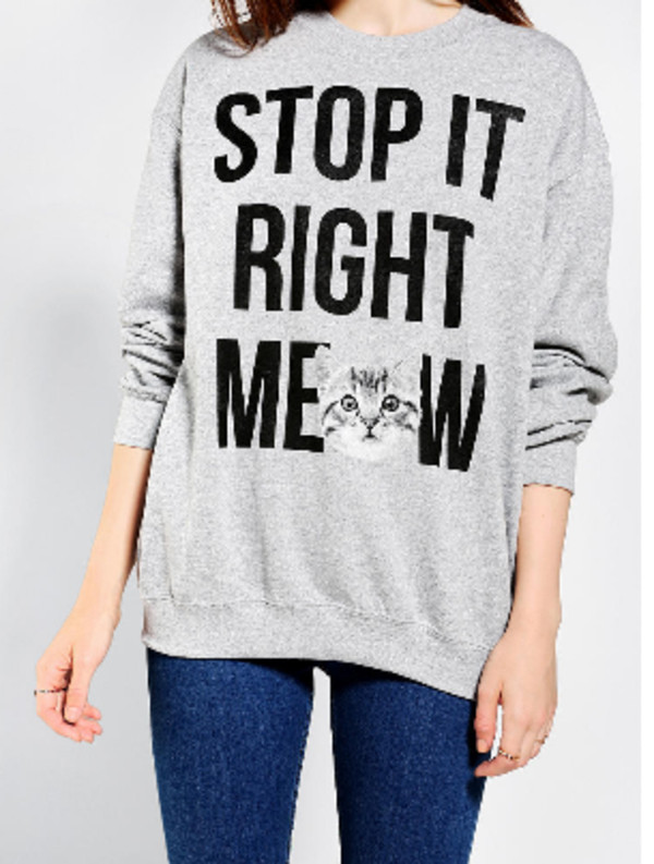 shirt oversized sweater meow kittycat