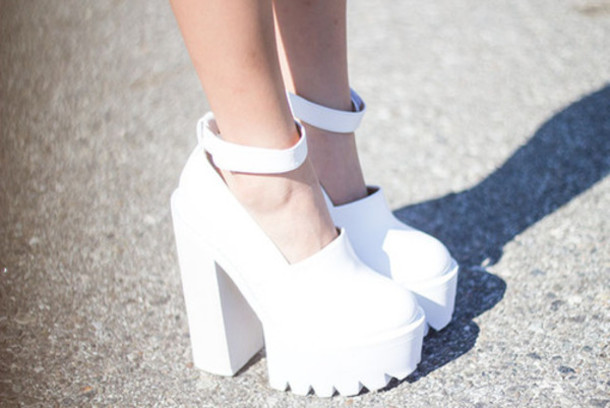 Shoes: ankle strap platform shoes white chunky heels white