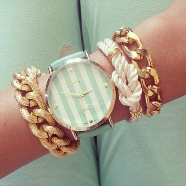 jewels watch bracelets white mint jewelry stacked bracelets set bracelets blue watch gold jewelry gold blue