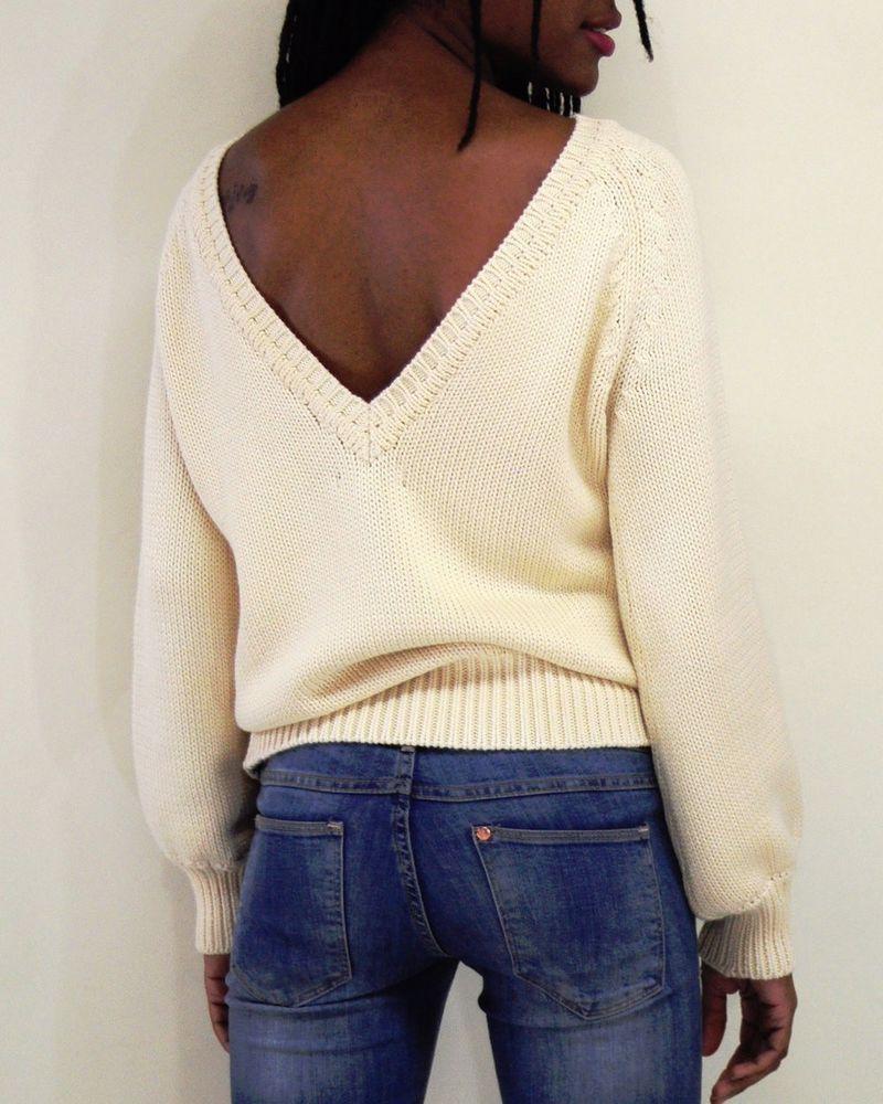 Elroy Pacaya Low V Back Boatneck Ivory White Organic Cotton Thick Sweater s M L | eBay