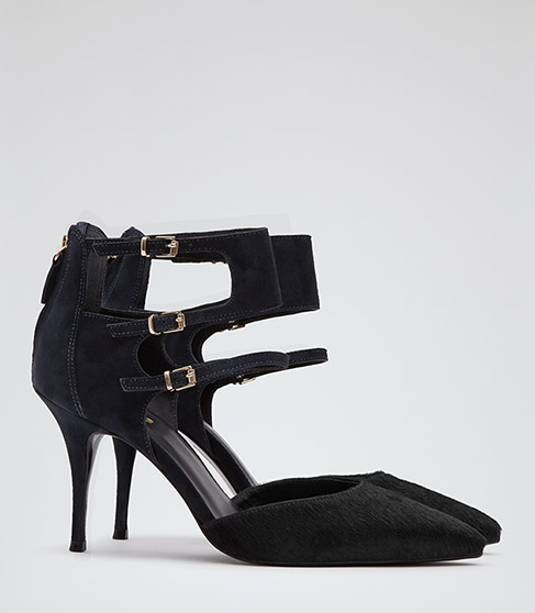 Ruby Navy Triple Ankle Strap Court Shoes - REISS