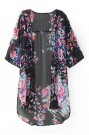 ROMWE | ROMWE Floral Print Cropped Sleeves Loose UV Cardigan, The Latest Street Fashion