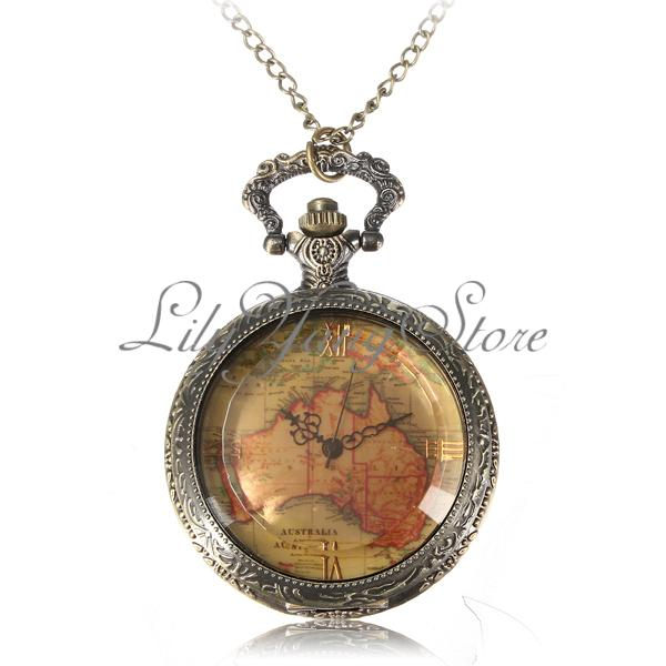 Vintage Antique World Map Bronze Quartz Pocket Watch Necklace Pendant Chain Gift | eBay