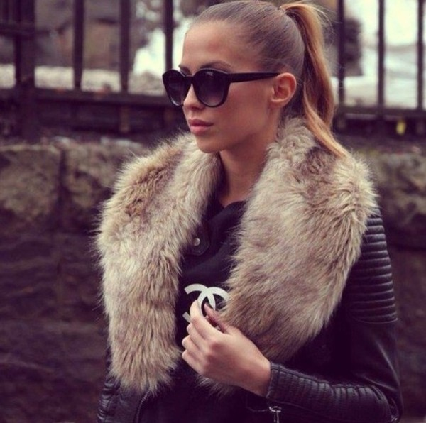 jacket fur faux fur brown cream fluffy fur collar collar leather black black leather jacket coat phone cover chanel sunglasses zara leather jacket