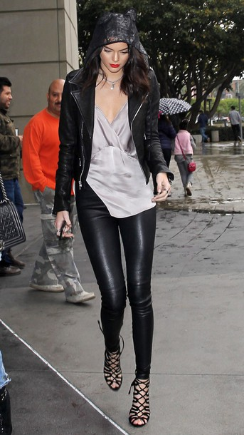 top leather jacket leather pants streetstyle kendall jenner red lip leather leggings leggings shoes