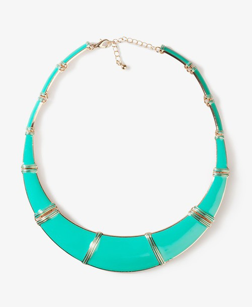 jewels turquoise sqare metallic necklace Pocahontas