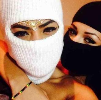 hat ski mask mask black white black and white