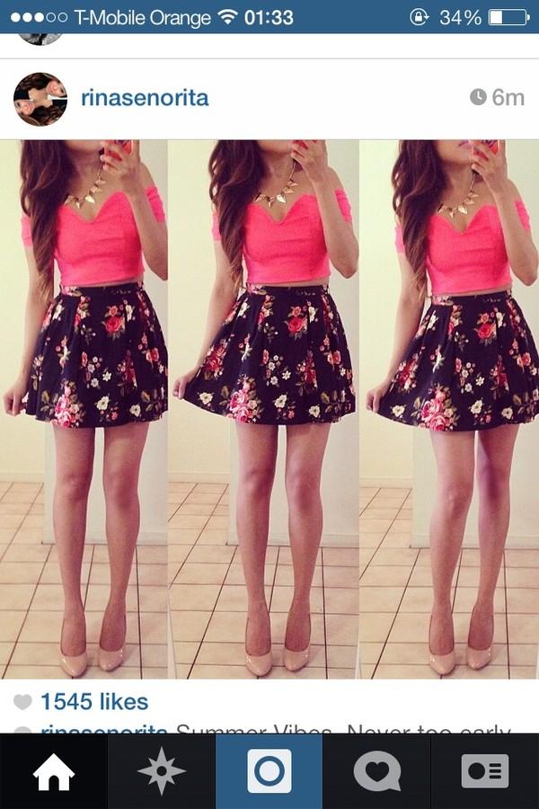 tank top crop tops pink floral skirt skater skirt skirt jewels
