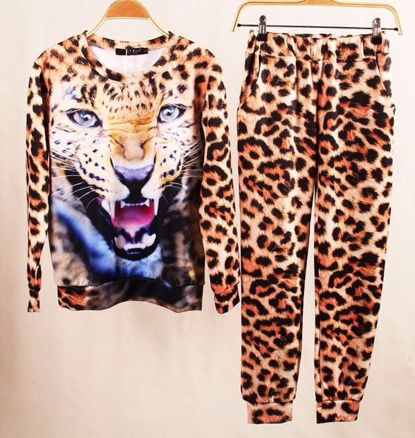 sweater animal print pants shirt