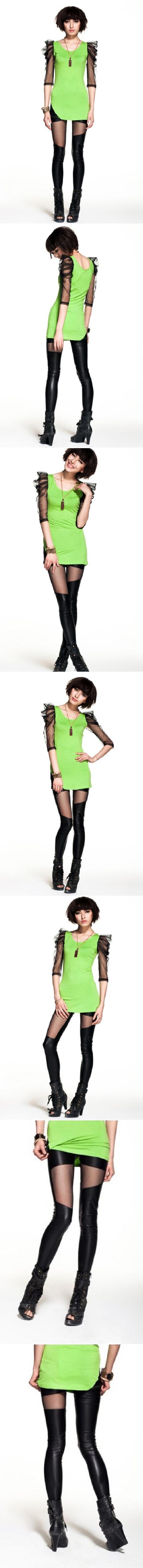 Asymmetric Sheer Mesh Stretchy Faux Leather Leggings Legwear Tights Pants 9355   eBay